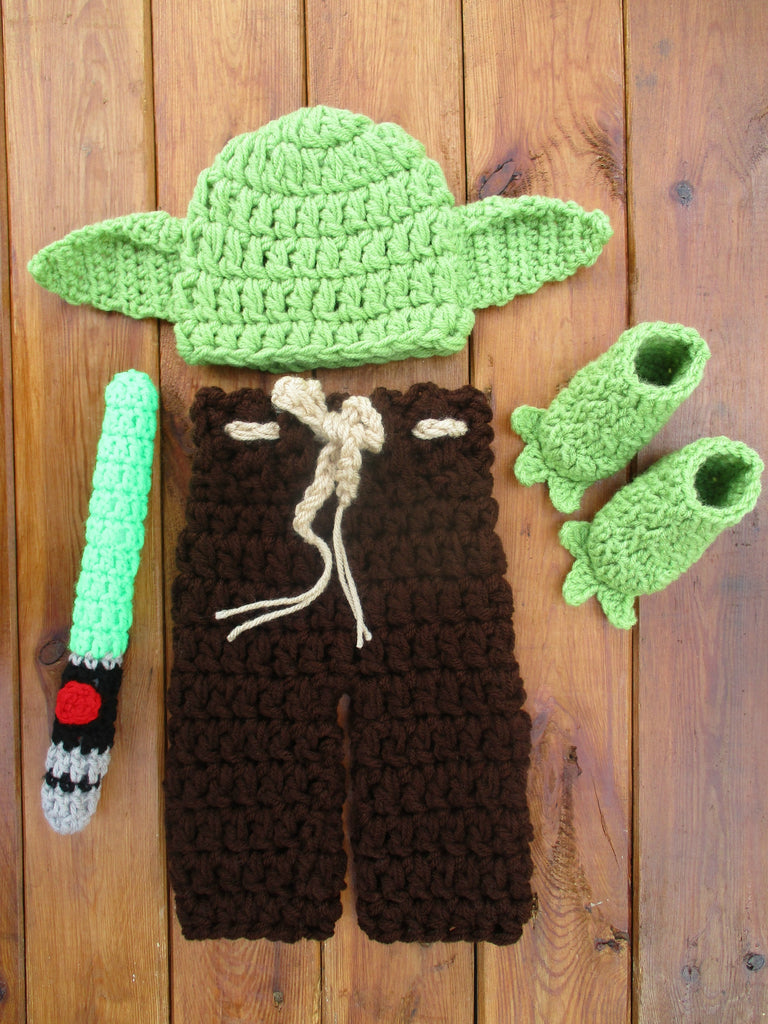 Star Wars Baby Yoda Crochet Costume Newborn Photo Props - kgphotoprops
