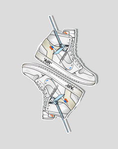 """OW x Jordan 1 White"" (2 Stickers) - no sply"