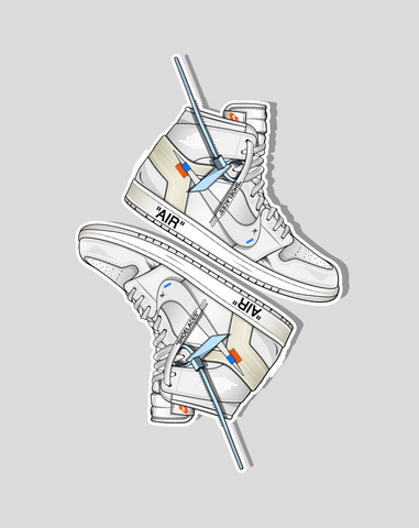 """OW x Jordan 1 White"" (2 Stickers)"