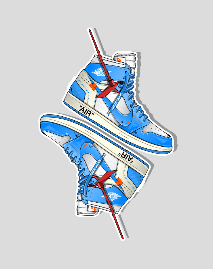 """OW x Jordan 1 UNC Sticker Pack"" (2 Stickers) - no sply"