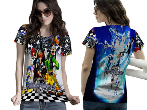 Kingdom Hearts Womens TOP T-Shirt Disney Video Game Custom Fullprint Sublimation sizes: S to 3XL
