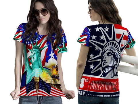 LIBERTY 4TH JULY PRINTED WOMEN 3D T-SHIRT