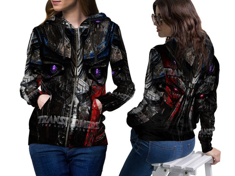 Transformers The Last Knight Fans Women Zipper Hoodie 3D Fullprint Sublimation Size : S To 3XL