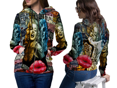 MARYLIN MONROE PRINT SUBLIMATION 3D ZIPPER HOODIE FOR WOMEN