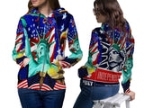 LIBERTY 14TH JULY PRINT SUBLIMATION 3D ZIPPER HOODIE FOR WOMEN
