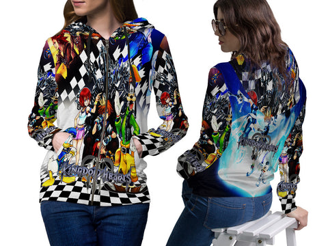 KINGDOM HEART PRINT SUBLIMATION 3D ZIPPER HOODIE FOR WOMEN