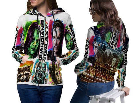GUARDIANS GALAXY PRINT SUBLIMATION 3D ZIPPER HOODIE FOR WOMEN