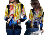 VEGETA DRAGON BALL PRINT SUBLIMATION 3D ZIPPER HOODIE FOR WOMEN