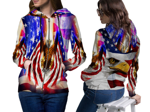 AMERICAN EAGLE PRINT SUBLIMATION 3D ZIPPER HOODIE FOR WOMEN