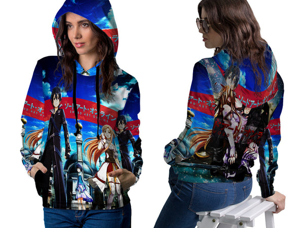 SWORD ART ONLINE PRINT SUBLIMATION 3D PULLOVER HOODIE FOR WOMEN