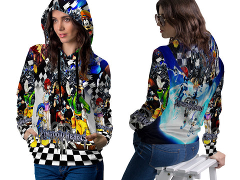 KINGDOM HEART PRINT SUBLIMATION 3D PULLOVER HOODIE FOR WOMEN