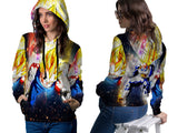 VEGETA DRAGON BALL PRINT SUBLIMATION 3D PULLOVER HOODIE FOR WOMEN