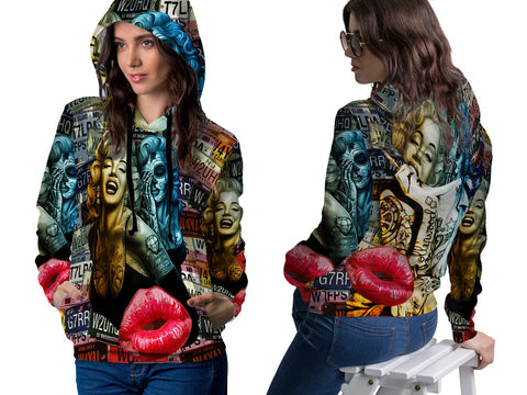 MARYLIN MONROE PRINT SUBLIMATION 3D PULLOVER HOODIE FOR WOMEN