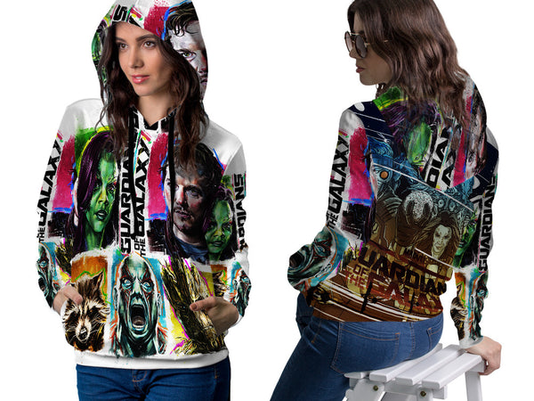 GUARDIANS GALAXY PRINT SUBLIMATION 3D PULLOVER HOODIE FOR WOMEN