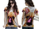 Realistic Animal Dogs 3D Digital Printed Sublimation Women's T-Shirt sizes: S to 3XL