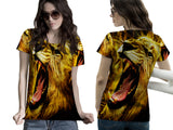 Realistic LION 3D Digital Printed Sublimation Women's T-Shirt sizes: S to 3XL