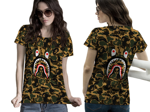 A Bathing Ape Shark Art 1 3D Digital Printed Sublimation Women's T-Shirt sizes: S to 3XL