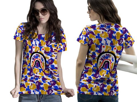 A Bathing Ape Shark Art 3 3D Digital Printed Sublimation Women's T-Shirt sizes: S to 3XL