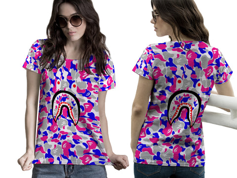 A Bathing Ape Shark Art 4 3D Digital Printed Sublimation Women's T-Shirt sizes: S to 3XL