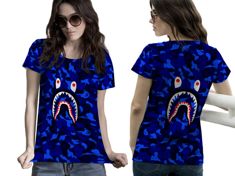 A Bathing Ape Shark Art 5 3D Digital Printed Sublimation Women's T-Shirt sizes: S to 3XL