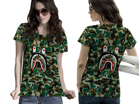 A Bathing Ape Shark Art 2 3D Digital Printed Sublimation Women's T-Shirt sizes: S to 3XL