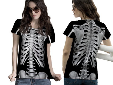 Skeleton 3D Digital Printed Sublimation Women's T Shirt