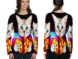 Realistic Animal Cats 3D Digital Printed Sublimation Women's LONG SLEEVE Size : S To 3XL