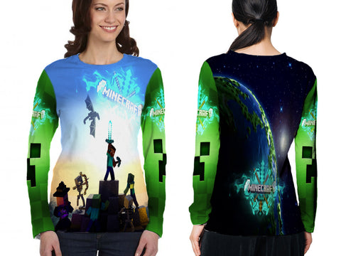 MINECRAFT For Women Long Sleeve 3D Fullprint Sublimation Size : S To 3XL