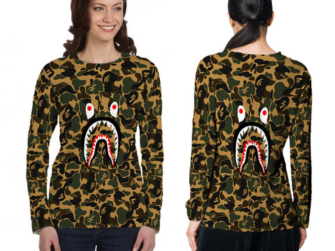 A Bathing Ape Shark Art 1 3D Digital Printed Sublimation Women's LONG SLEEVE Size : S To 3XL