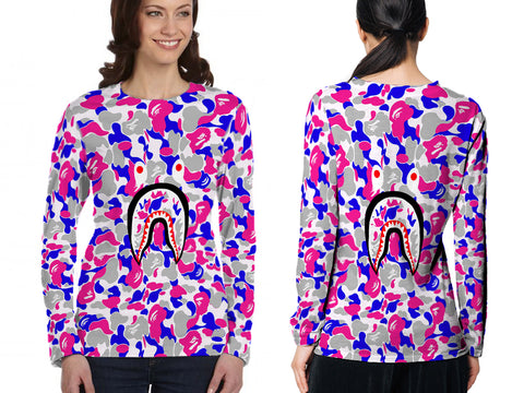 A Bathing Ape Shark Art 4 3D Digital Printed Sublimation Women's LONG SLEEVE Size : S To 3XL