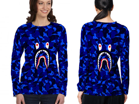 A Bathing Ape Shark Art 5 3D Digital Printed Sublimation Women's LONG SLEEVE Size : S To 3XL