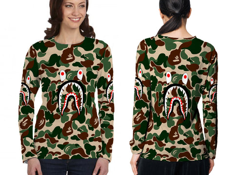 A Bathing Ape Shark Dark Green Color 3D Digital Printed Sublimation Women's LONG SLEEVE Size : S To 3XL