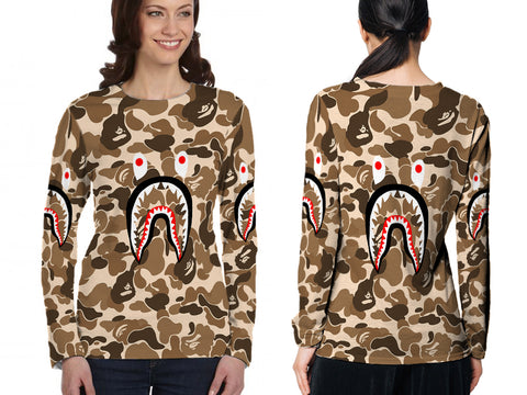 A Bathing Ape Shark Brown Color 3D Digital Printed Sublimation Women's LONG SLEEVE Size : S To 3XL