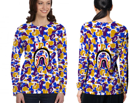 A Bathing Ape Shark Art 3 3D Digital Printed Sublimation Women's LONG SLEEVE Size : S To 3XL