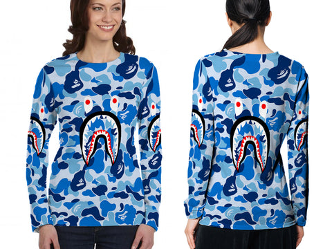 A Bathing Ape Shark Blue Color 3D Digital Printed Sublimation Women's LONG SLEEVE Size : S To 3XL