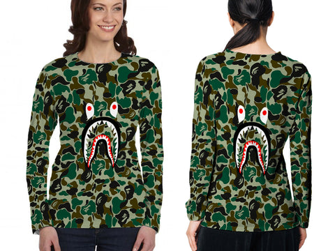 A Bathing Ape Shark Art 2 3D Digital Printed Sublimation Women's LONG SLEEVE Size : S To 3XL