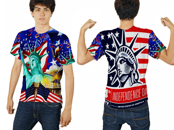 LIBERTY 4TH JULY PRINTED MEN 3D T-SHIRT