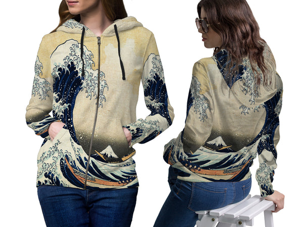 Abstract 3D Digital Printed Women's Zipper Hoodie sizes: S to 3XL