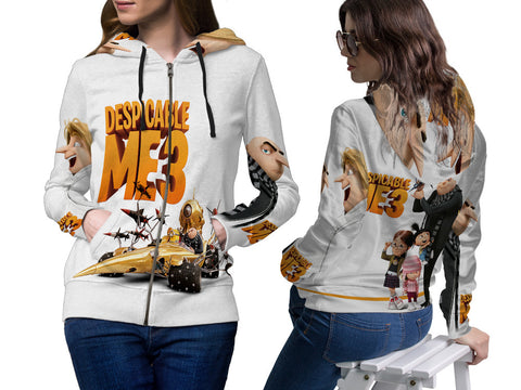 Despicable Me 3 For Women Zipper Hoodie 3D Fullprint Sublimation Size : S To 3XL