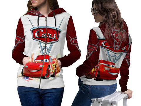 Cars 3 Disney Fans Women Zipper Hoodie 3D Fullprint Sublimation Size : S To 3XL