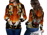 Realistic LION 3D Digital Printed Women's Zipper Hoodie sizes: S to 3XL