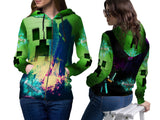 MINECRAFT For Women Zipper Hoodie 3D Fullprint Sublimation Size : S To 3XL