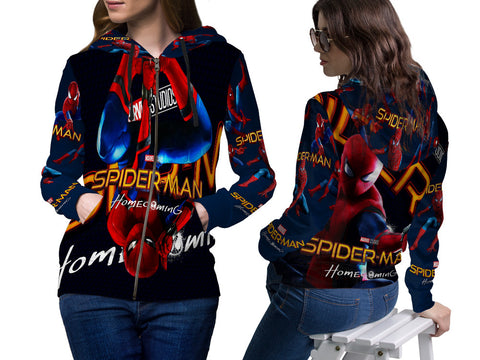 New Spider-Man Homecoming Fans Woman Zipper Hoodie 3D Fullprint Sublimation Size : S To 3XL