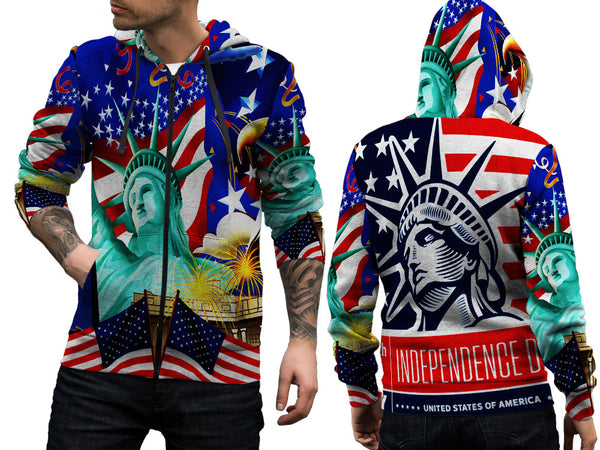 LIBERTY 14TH JULY PRINT SUBLIMATION 3D ZIPPER HOODIE FOR MEN