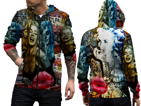 MARYLIN MONROE PRINT SUBLIMATION 3D ZIPPER HOODIE FOR MEN