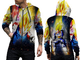 VEGETA DRAGON BALL PRINT SUBLIMATION 3D ZIPPER HOODIE FOR MEN
