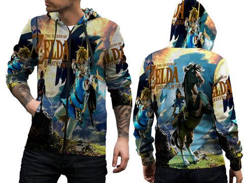THE LEGEND OF ZELDA Mens TOP Zipper Hoodie Video Game Custom Fullprint Sublimation sizes: S to 3XL