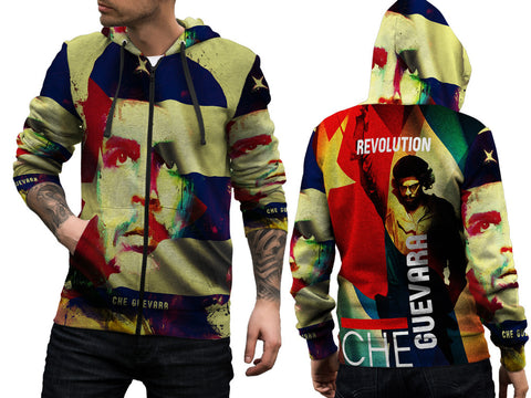 Che Guevara Cuba Revolution Fans Man Zipper Hoodie 3D Fullprint Sublimation Size : S To 3XL
