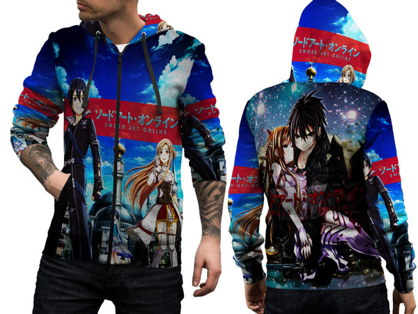 SWORD ART ONLINE PRINT SUBLIMATION 3D ZIPPER HOODIE FOR MEN