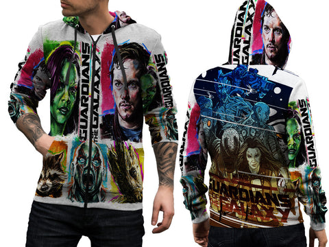 GUARDIANS GALAXY PRINT SUBLIMATION 3D ZIPPER HOODIE FOR MEN
